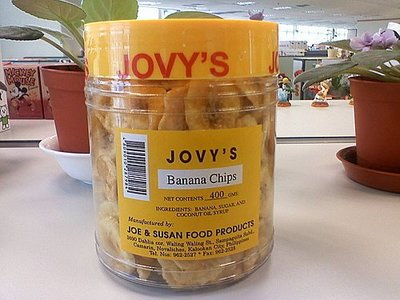 菲律濱長灘島必買jovy's crispy banana chips 香蕉片/香蕉脆片x 3罐,超商取物付款