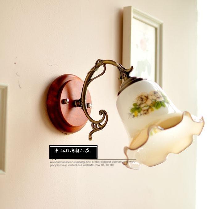 粉紅玫瑰精品屋~田園 美式鄉村 復古 實木 印花裝飾壁燈~