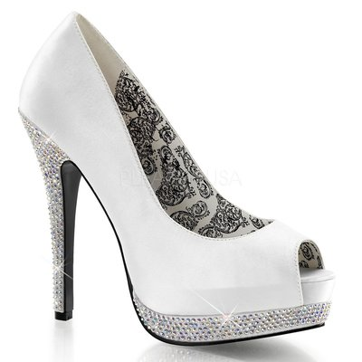 Shoes InStyle《五吋》美國品牌 BORDELLO 原廠正品水鑚緞面厚底高跟魚口鞋 有大尺碼『白色』