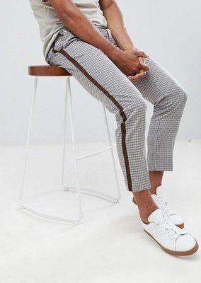 ◎美國代買◎ASOS咖啡色線條裝飾格紋褲面英倫雅痞風復古格紋線條裝飾七分西裝長褲~歐美街風~大尺碼
