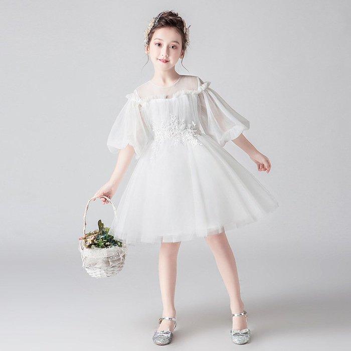 •*~ 辣媽咪衣飾小舖 ~*•❤童裝系列❤K901452韓版大童夏款甜美清新時尚蓬蓬蕾絲亮片可愛公主禮服公主洋裝