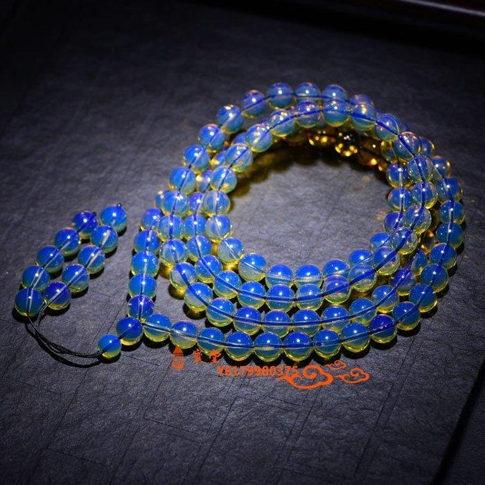 【福寶堂】多米尼加凈水藍珀108顆佛珠手鏈 純天然蜜蠟琥珀圓珠手串男女款