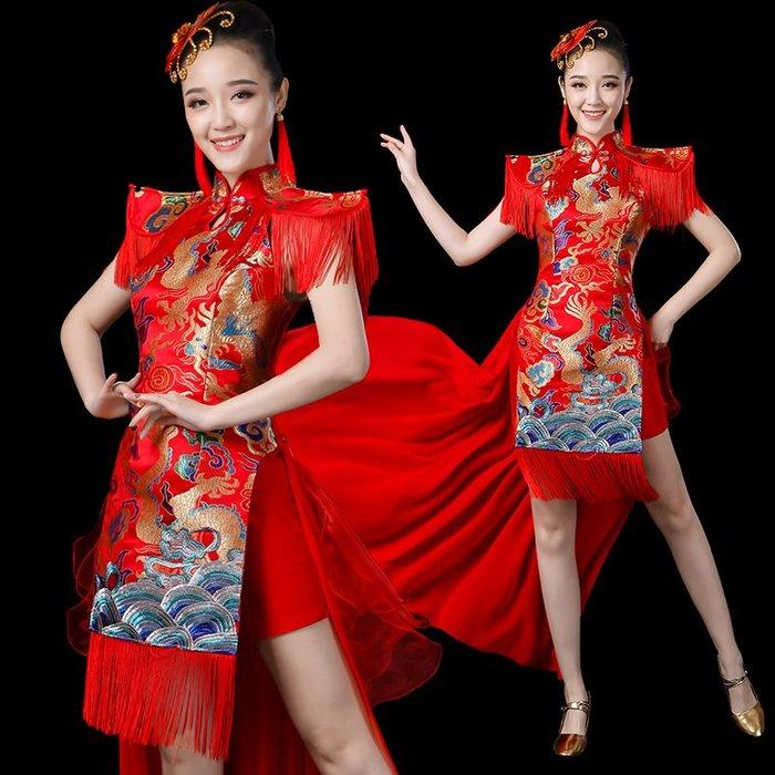 舞造天-現代舞打鼓服演出服2018新款夏中國風舞蹈服裝水鼓舞開場舞女成人