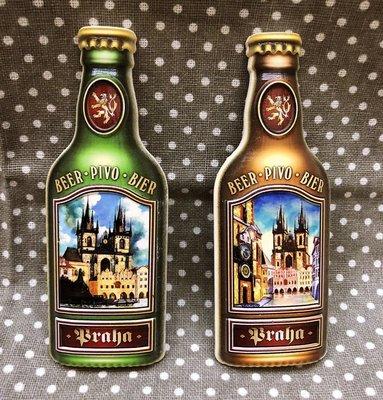 *歐米.O-MI*~捷克 舊城區廣場「魔鬼教堂」Týn泰恩教堂 機印啤酒瓶造型旅遊磁鐵 紀念品 世界城市旅遊紀念磁鐵