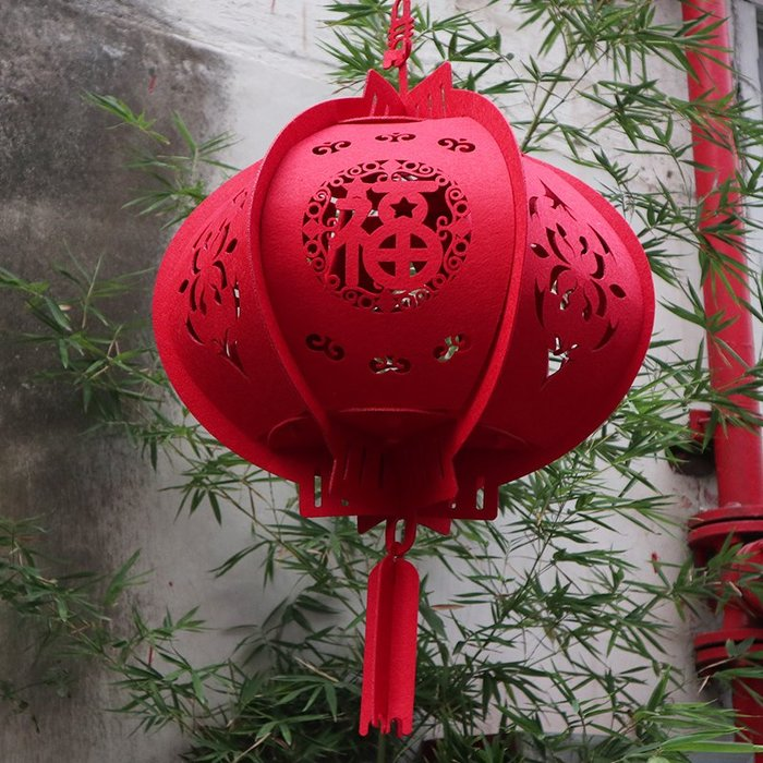 衣萊時尚新年裝飾用品春節無紡布大紅燈籠掛飾過年室內戶外布置吊件燈籠