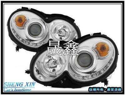 《晟鑫》全新 Benz 賓士 2004-2009年 超亮LED燈眉 魚眼光圈 大燈 CLK W209 A209 C209