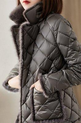 歐單 2021新款 輕奢大氣場 小香氣質菱格紋 禦寒保暖水貂絨飾邊 俐落短版羽絨大衣外套 (Q663)