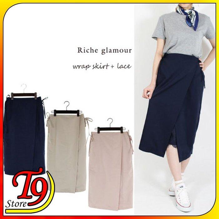 【T9store】日本進口 T/R/PU斜紋帶蕾絲裙