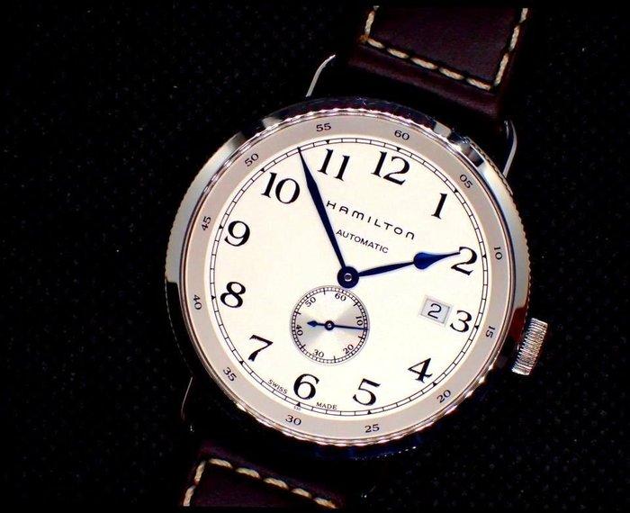 我最便宜=HAMILTON KHAKI NAVY卡其海軍先鋒系列經典復古小秒針銀面40mm大錶復刻細耳自動機械錶