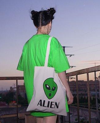 【黑店】訂製款外星人印花帆布袋 個性帆布袋 百搭個性帆布包 萬用購物袋 個性學生書包