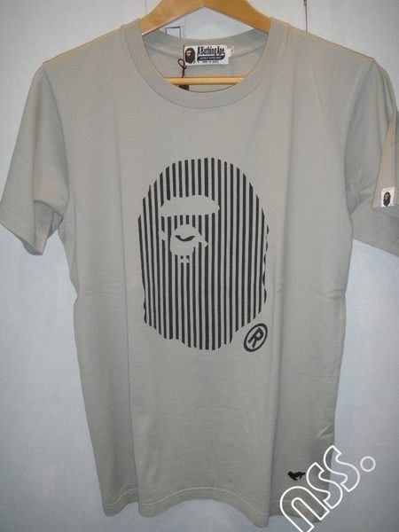 特價【NSS】 A BATHING APE BAPE  猿人 條紋 LOGO藍 綠 灰 三色 S 刺繡
