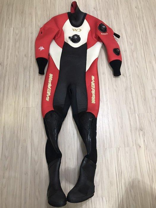 WD 3.5mm 潛水 紅 乾式防寒衣 8-9成新 154-160cm 53-63kg