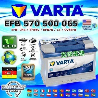 【中壢電池】VARTA E45 EFB 70AH LN3 華達 德國進口 汽車電池 AUDI A3 福斯 VW 原廠電瓶