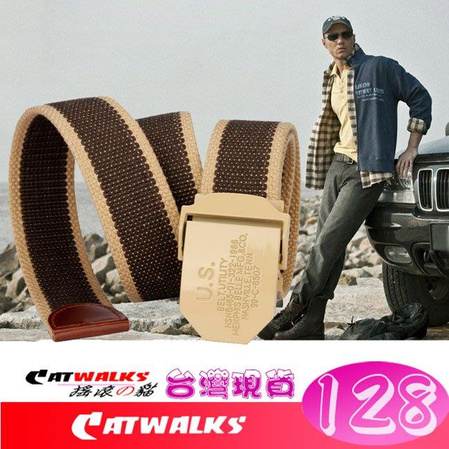 【 Catwalk's 搖滾の貓 】軍規風金色美軍兵籍卡立體金屬扣加厚帆布腰帶 15色現貨 台灣發貨