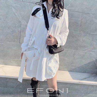 PapaDarling 20SS 歐美設計師品牌 白色設計感不規則口袋襯裙 連身裙