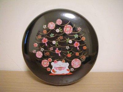 全新圓弧形亮黑色日本東洋風招財貓福字掛飾繽紛花朵彩繪圖案收納盒 / 萬用招財盒