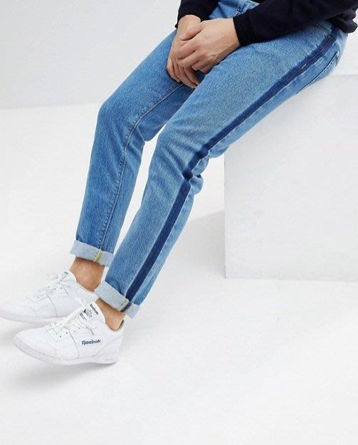 ◎美國代買◎ASOS深藍色牛仔條紋裝飾合身剪裁復古運動風牛仔條紋色合身藍色牛仔褲~歐美街風~大尺碼~