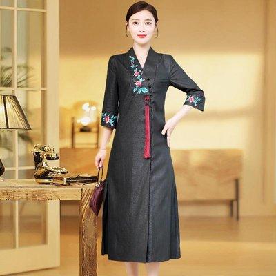 大唐夫人氣質女裝 高端改良旗袍女2020年連身裙唐裝民國風氣質中國風優雅年輕款長袖