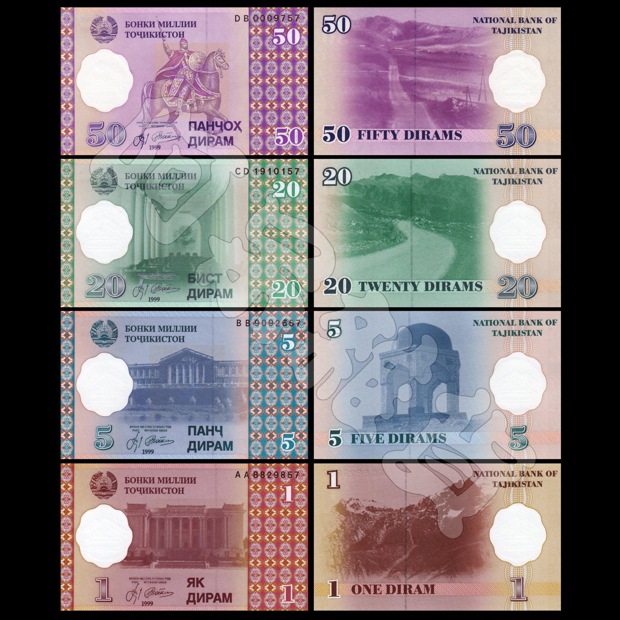 森羅本舖 現貨實拍 塔吉克斯坦 四張一套 1-50迪拉姆 1999年 共和國 小票幅 塔吉克 中亞大陸 外鈔 紙鈔 鈔票