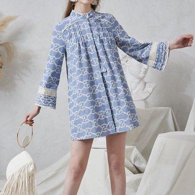 PapaDarling 20SS歐美獨創設計品牌 重工雕孔刺繡淺藍色 牛仔連身裙