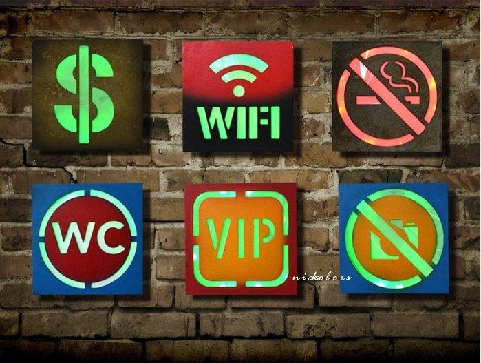 尼克卡樂斯 ~美式復古方形LED燈告示牌【共6款】 餐廳咖啡廳告示掛牌 禁止吸菸男女廁WIFI掛牌 工業風霓虹燈led