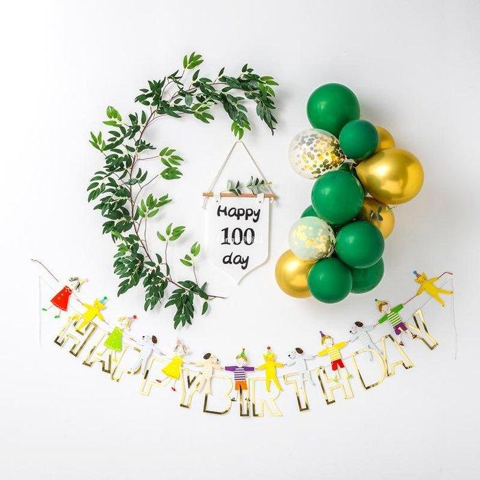 『angel.時尚』 寶寶生日氣球套裝派對裝飾男孩周歲女孩1歲兒童寶寶場景布置背景墻INS