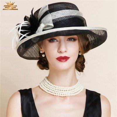 帽子女夏優雅海邊沙灘遮陽帽時尚潮宴會舞會帽英倫麻紗禮帽