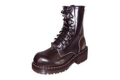 【鞋媽媽】[女]AE真皮馬丁鞋*黑底灰花紋9眼*厚底高跟女款*ae002h