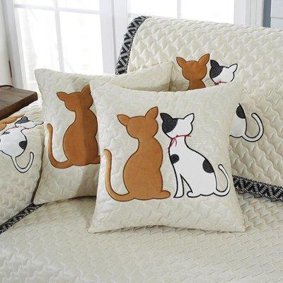 鳳蝶舞雙貓沙發墊頭枕靠墊沙發汽車抱枕家用靠枕套腰枕辦公室午休AMSS