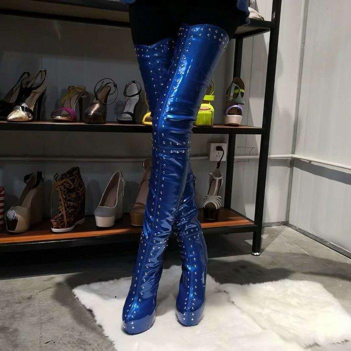 訂製鞋 大尺碼 大腿圍 男鞋 獨家定做過膝長靴 手工鉚釘長靴 32~47碼