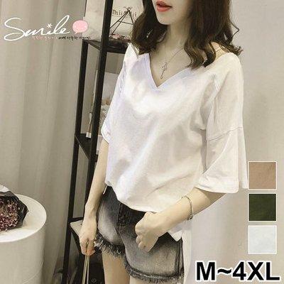 【V2350】SMILE-韓范甜美.前後V領吊帶寬鬆短袖上衣