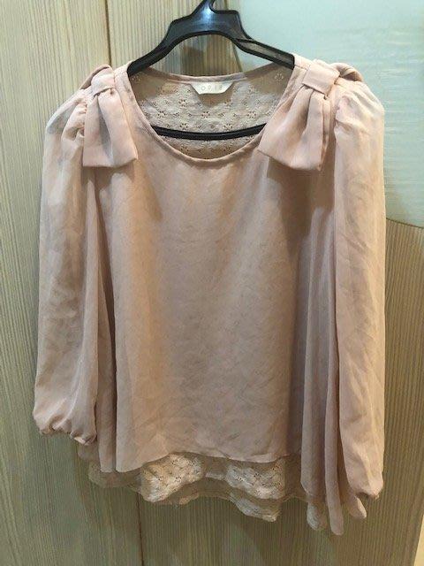 小花別針、百貨專櫃【0918】粉色雪紡上衣