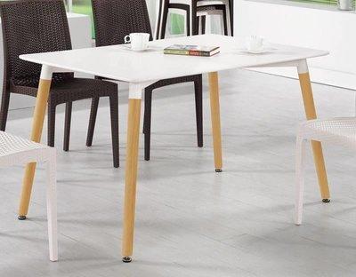 【風禾家具】FQM-1023-1@NA北歐風4尺餐桌【台中3500送到家】休閒桌 白色烤漆 實木腳座 傢俱 工作桌 圓邊