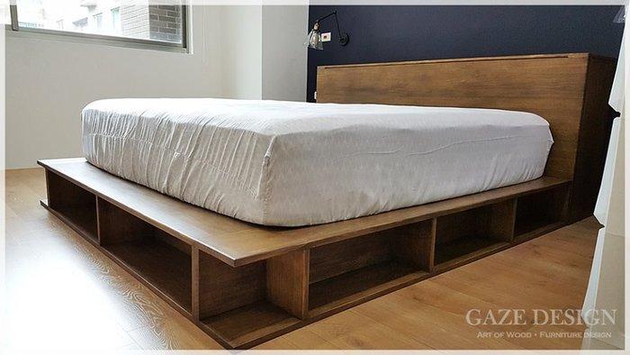 Gaze Design 匠司。傢俬設計  |多功能收納。榻榻米型全實木床架+收納床頭箱|全實木卡榫式床組.客製化訂做