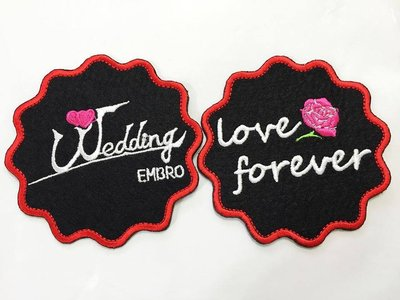 精美刺繡杯墊 刺繡文字:weddingx1pc+ love foreverx1pc 組合套餐