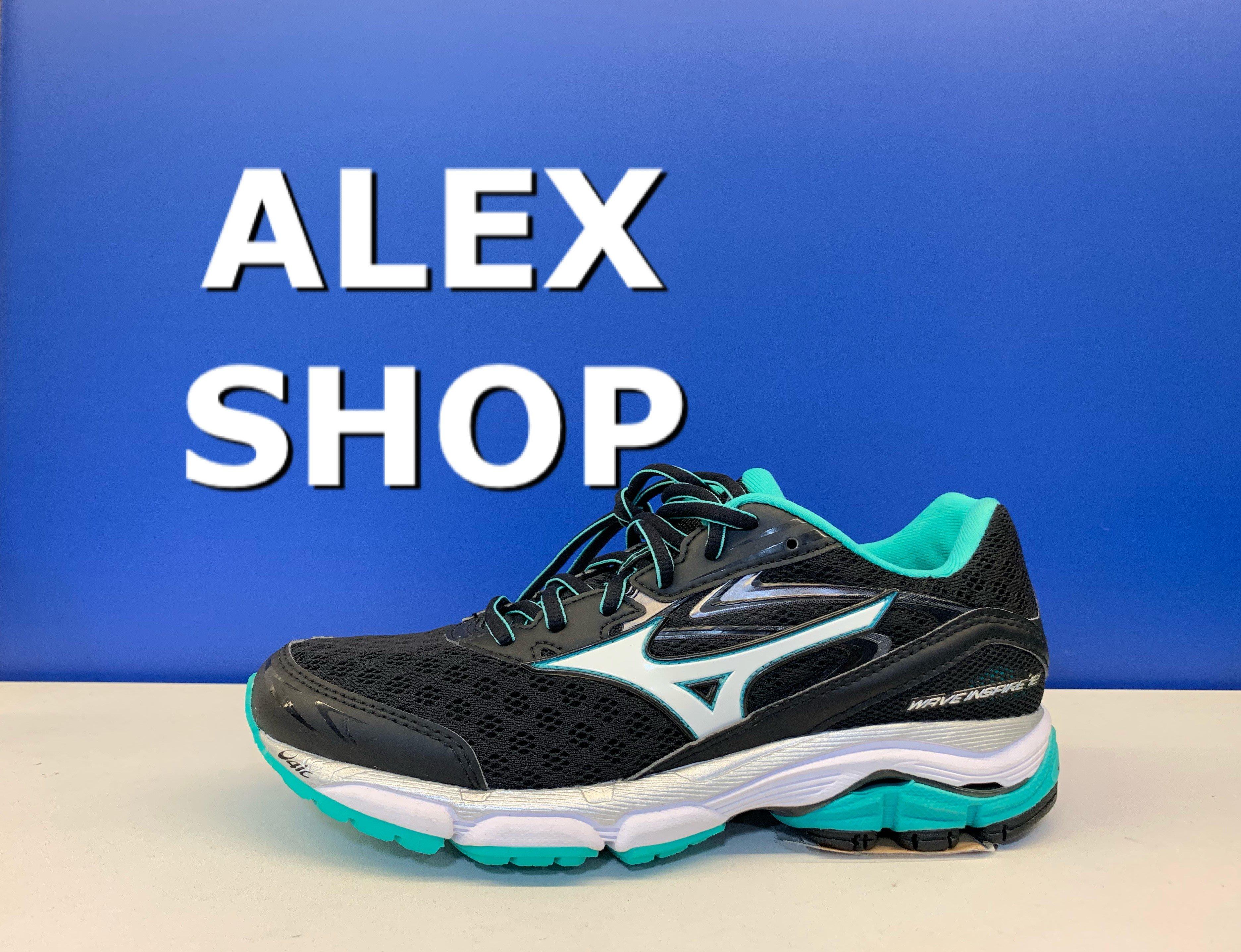 艾力克斯 MIZUNO WAVE INSPIRE 12 女 J1GD164406 黑網布 綠白透氣輕量緩震慢跑鞋