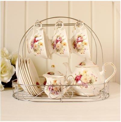 粉紅玫瑰精品屋~歐式茶具咖啡套裝 15頭菊香下午茶杯組~