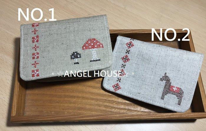 。☆ANGEL HOUSE☆。日本進口**DECOLE**棉麻手作風蘑菇小馬票卡/證件夾067