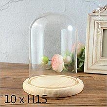 Sweet Garden, 10 * 高15cm 圓柱形玻璃罩+木底座 永生花不凋花設計 DIY場景 擺飾防塵罩 展示台