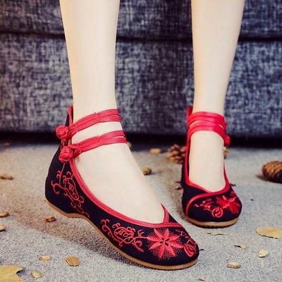 柒柒KR 正韓2019太陽花布鞋低跟民族風牛筋軟底舞蹈表演出鞋古風漢服旗袍女鞋