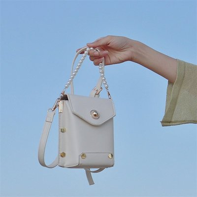 女包白色斜挎百搭仙女2020新款法國質感流行包包珍珠包小方包@di67602