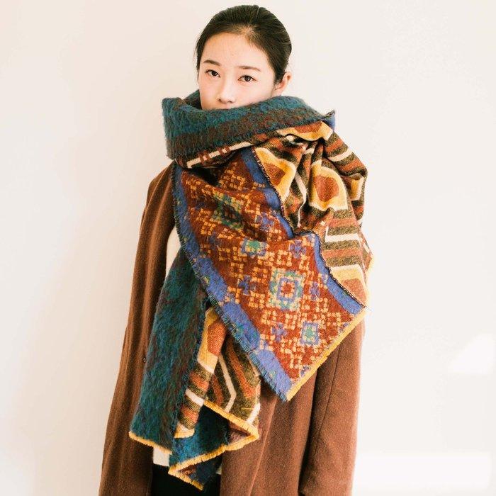 Mellowest 歐美復古波西米亞民族風幾何圖案羊絨圍巾 重磅 厚實 抗寒 禦寒 雪地用