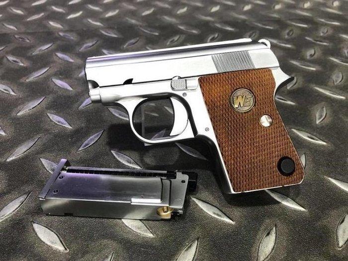 [極光小舖] WE 柯特 COLT.25掌心雷瓦斯手槍附精美包裝盒 銀色