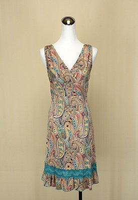貞新二手衣 Veeko 專櫃 藍色民俗風V領無袖棉質洋裝L(38號)(22216)