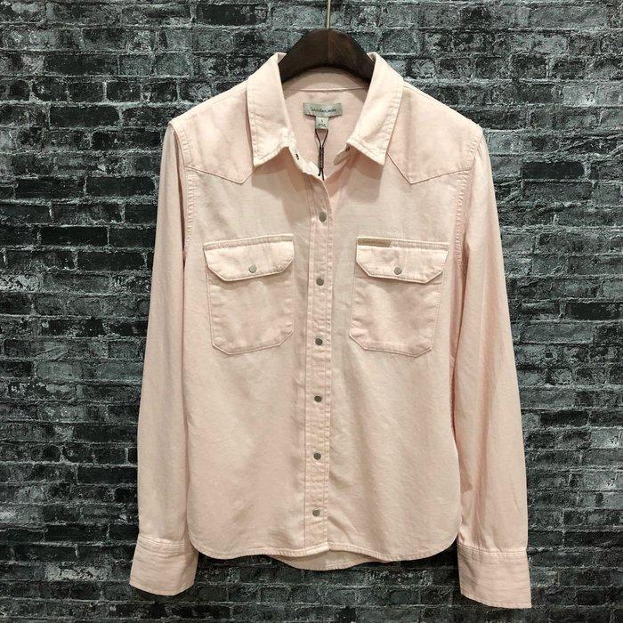 Maple麋鹿小舖 美國百貨購買Calvin Klein * CK  淡粉色長袖襯衫 * ( 現貨S號 )