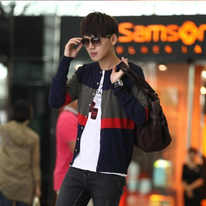 針織外套 新款男士條紋開衫針織衫男休閒學生毛衣韓版修身薄款外套男潮sys
