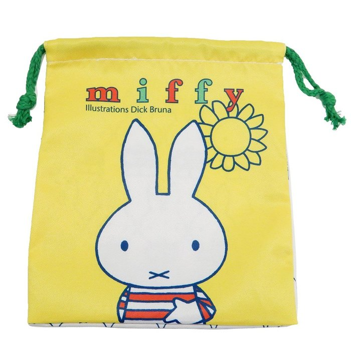 《散步生活雜貨》日本進口 MIFFY 米飛兔 100%棉 隨身小物收納 平口束口袋 DBM-103