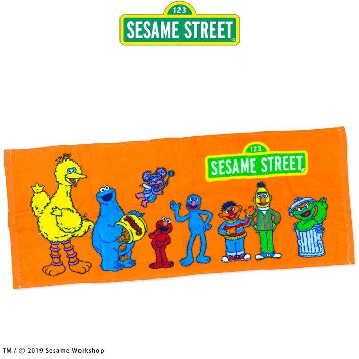 【現貨】【日本限定】SESAME STREET 芝麻街全員集合造型長方巾 沐浴巾 毛巾 海灘巾 沙灘巾 掛毯 沙發毯