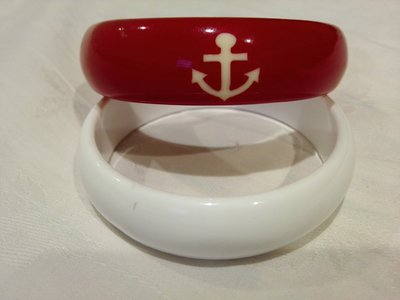 紅+白 海軍手環 (2只)