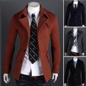 yes99buy加盟-2014秋冬새로운 韓味個性毛呢單排扣休閒肩章時尚風衣 外套